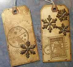 Snow Day Tone-on-Tone Tags...with metal snowflakes.