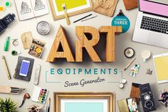 Check out Art Equipments Scene Generator V3 by Mockup Zone on Creative Market
