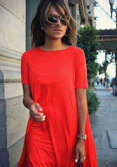 red flowy dress l sincerely, jules.