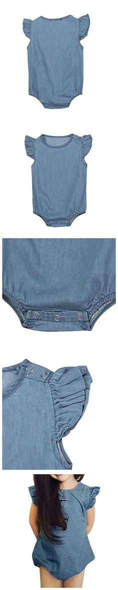Inkach Baby Girls Romper, Newborn Infant Short Sleeve Rompers Jumpsuit Kids Ruffles Bodysuit Clothing (90, Blue)