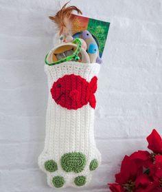 Cat Paws Christmas Stocking #crochet #christmasstocking #holiday #christmas #catstocking #catchristmas