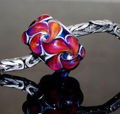 Handmade glass bead - Fits Pandora Troll - European charm bracelet bead - silver core glass bead - SRA lampwork glass - Raspberry Paisleys