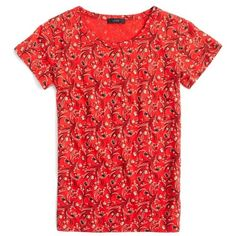 Women's J.crew Bandana Print Tee ($37) ❤ liked on Polyvore featuring tops, t-shirts, belvedere red, short sleeve tops, bandana print t shirt, pattern t shirt, print top and print tees