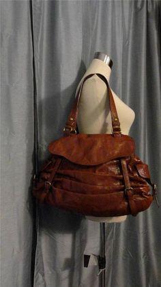 KOOBA JACKIE Double Strap Brown Leather Extra Large Handbag Purse Satchel - $645 #KOOBA #ShoulderBag