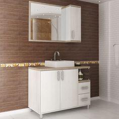 Para deixar o banheiro organizado os gabinetes são essenciais. Para garantir harmonia na decoração, escolha um modelo que entre em harmonia com a espelheira escolhida.