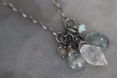 Gemstone Cluster Necklace, Gemstone Necklace, Wire Wrapped, Moss Aquamarine, Mystic Aquamarine, Crystal Quartz, Sterling Silver, Cable Chain by DezineStudio on Etsy