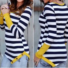 RESTOCK  Pop of color striped tops Pop of Mustard or Mint - navy & white stripes with button details. Please do not purchase this listing. Comment with color & size and I will create a new listing for you. Small (2/4) Medium (6/8) Large (10/12). Price is firm unless bundled. Tops