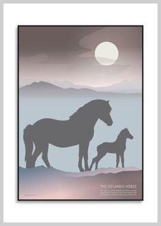 Plakat: Hoppe med føl, den islandske hest fra Ping Pong Posters