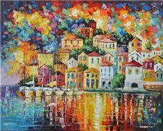 Schilderij van kleurrijke huisjes aan zee - Stad en land schilderijen