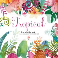It doesn't really feel like summer here but I do enjoy this colorful clip art set with tropical leaves and flowers!!  Available on Etsy and Creative Market... #clipart #tropical #watercolor #graphicdesign #illustration #design #beautiful #handpainted #art #instaart #flowers