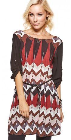 LikeLondon tunika klänning mönstrad med läderband b2c9689ae1c56