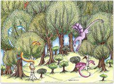 Fantasy Illustration Folks Art Dragon Forest by Cottagegarden, $20.00