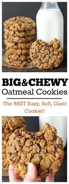 Increase the oats by a cup for just plain Oatmeal cookies. Big and Chewy Oatmeal Cookies- these cookies are easy, super thick, giant, and delicious! Just Desserts, Delicious Desserts, Dessert Recipes, Yummy Food, Dinner Recipes, Delicious Chocolate, Tasty, Yummy Snacks, Drink Recipes