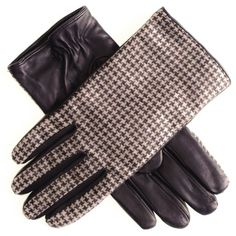 Men'a #houndstooth #leather #gloves