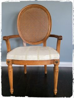 Vintage Cane Back Armchair w/Padded Seat