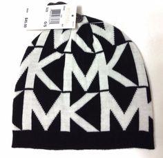 New$45 Women/Ladie MICHAEL by MICHAEL KORS BEANIE Black/White MK Winter Knit Hat #MichaelKors #Beanie