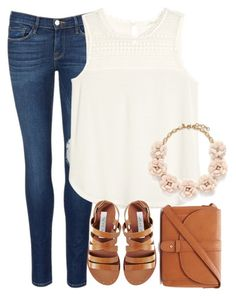 """""""Untitled #1131"""" by southernstruttin ❤ liked on Polyvore featuring Frame Denim, H&M, Steve Madden, Forever 21 and J.Crew"""
