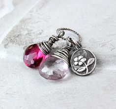 Colorful Pendant Oxidized Silver Quartz Jewelry  Pink by Hildes