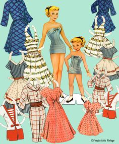 Vintage Retro 1950s Mother Daughter Paper Dolls INSTANT DOWNLOAD Digital FIle Printable   I had these!