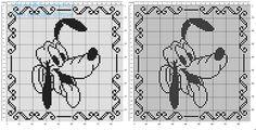 Cuscino a uncinetto filet con Disney Pluto schema gratis 90 quadretti