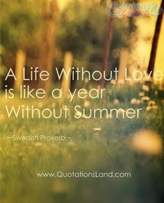 A life without love is like a year without summer. ~ Swedish Proverb