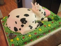Coolest Cow Birthday Cake... This website is the Pinterest of birthday cake ideas
