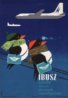 IBUSZ - tours abroad by plane. Hungarian advertising poster, 1963. Artist: Győző Szilas.