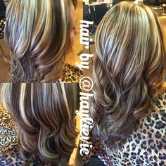 chunky blonde highlights, brown all over. added depth and dimension to her hair, fun and playful. hair by @haylievic