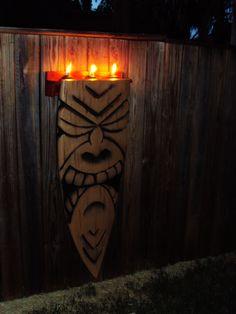 Carved Surfboard Tiki, with flaming tiki ****SOLD*** Tiki Art, Tiki Tiki, Tiki Faces, Surfboard Decor, Tiki Room, Polynesian Culture, Hawaiian Luau, Backyard Projects, Beach Themes