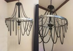 Turn a Bicycle Wheel into a Chic Industrial Chandelier DIY Industrial chic Chandelier On A Serious Budget - Love the look of industrial chic but hate the pricetag? Find yourself an old bicycle wheel in order to get started! How To Make A Chandelier, Chandelier Chain, Industrial Chandelier, Industrial Chic, Chandelier Ideas, Chandeliers, Bicycle Wheel Decor, Pimp Your Bike, Bike Art