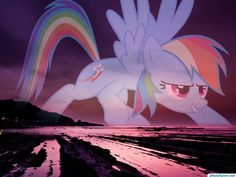 #photofunny Rainbow Dash in transparency on a beautiful sunset of purple tones on a coast where we can see mountains running into the sea and beach wallpaper