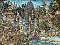 Pande Darmayana: Lukisan Tradisional Bali daerah Ubud Traditional Paintings, Traditional Art, Bali Painting, Painting Art, Bali Country, Indonesian Art, Thai Art, Asian Decor, Stage Design