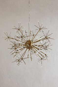 Anthropologie brass dandelion pendant light