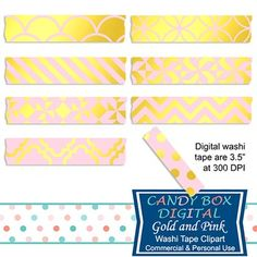 These beautiful pink and gold foil digital washi tape will be great for embellishing your pictures and mementos in digital scrapbooks and journals, on blogs and websites. On Teachers Pay Teachers.