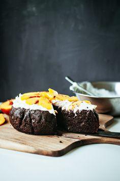 Chocolate zucchini cake with mascarpone & goat cheese frosting