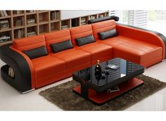 The Umbra-3SC leather sofa challenges conventional designs with its bold curved features and rich tone leather colour contrast, making it the perfect lounge suite to modernize a home. It has a rounded corner piece, with striped seats and backrests.