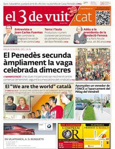 Portada d'El 3 de vuit del 16 de novembre del 2012 - Baix Penedès