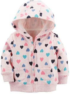 Zip-Up French Terry Hoodie Teen Girl Outfits, Toddler Outfits, Little Girl Fashion, Kids Fashion, Babies Fashion, Baby Girl Tops, Baby Girl Sweaters, Enjoy The Little Things, Carters Baby Boys