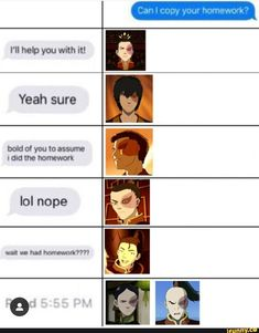 I'll help you with it! Yeah sure bold of you to assume tdtd lhe homework lol nope - iFunny :) Avatar Zuko, Avatar Airbender, Avatar The Last Airbender Funny, The Last Avatar, Avatar Funny, Team Avatar, Geeks, Atla Memes, Sneak Attack