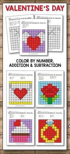 Valentines Day activities for preschool, kindergarten and first grade kids. Add some fun into your classroom with these color by number, addition and subtraction printables perfect for practicing math concepts and fine motor skills. #valentine #valentinesday #preschool #kindergarten #firstgrade #classroom #printables #forkids