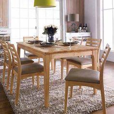 Bộ bàn ăn gỗ cao su 6 ghề Ruben