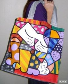 Romero britto, cuadros y bolsos pop art Ideas Para, Pop Art, Reusable Tote Bags, Country, Kids, Painted Bottles, Painting On Fabric, Tote Bags, Brazil