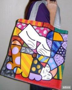 Romero britto, cuadros y bolsos pop art