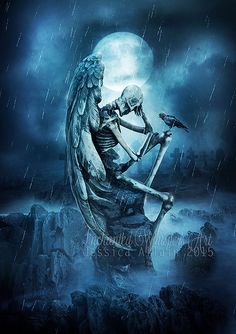 Gothic wall art,Gothic poster,Gothic print,dark angel print,Skeleton print,winged skeleton,dark fantasy art,crow print,raven print,blue