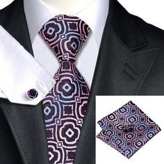 Галстук черный с розовым и голубым + платок и запонки - купить в Киеве и Украине по недорогой цене, интернет-магазин