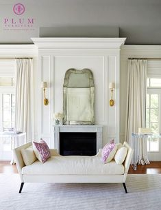 Beautiful Living Room by McGill Design Group Sandra Napper Chaise by Plum Furniture Living Furniture, Furniture Sale, French Furniture, Furniture Decor, Bedroom Furniture, Transitional Living Rooms, Up House, Master Bedroom, Bedroom Drapes