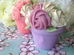 Cupcake soap Mothers day easter Cupcake soap - 1 Decorative pink Rose soap Goatmilk Birthday bridal party favors Cold process mom gift. $9.99, via Etsy.