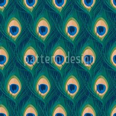 Peacock Feathers Repeat Pattern (No. Art-No. Peacock Pattern, Feather Pattern, Art Deco Stoff, Vektor Muster, Art Deco Fabric, Feather Vector, More Wallpaper, Vector Pattern, Pattern Designs
