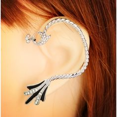 FINAL PRICE Silver plated peacock rhinestone cuff Brand new, included is ear cuff for one ear only. Jewelry Earrings