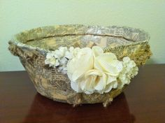 Découpage Bowl with twine/hemp cord and fabric flower embellishment. Paper Mache, Fabric Flowers, Twine, Hemp, Serving Bowls, Embellishments, Decoupage, Cord, Notes